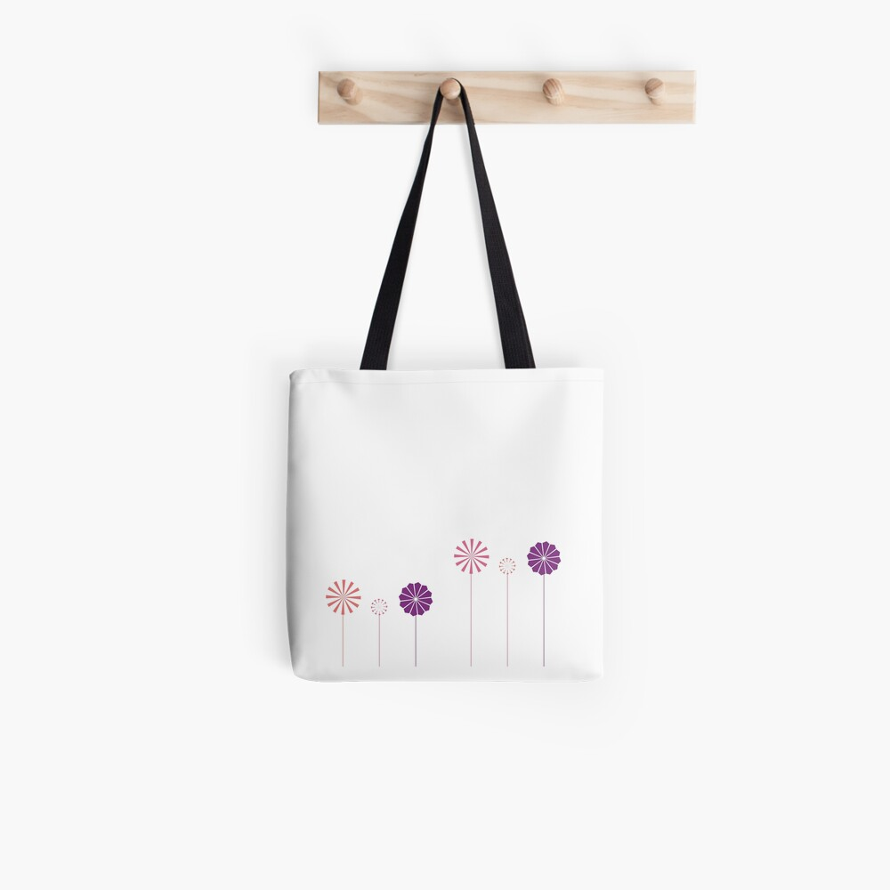 Pink and Purple Pinwheels on White Tote Bag