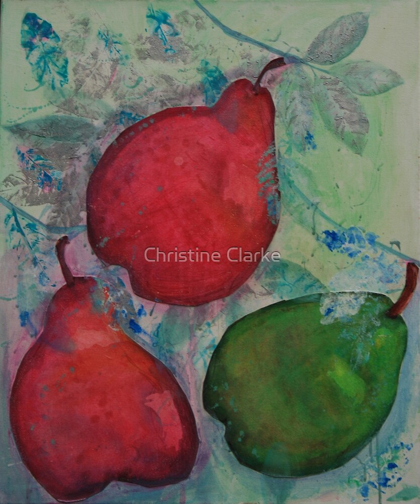 Three Pears with Silver by Christine Clarke