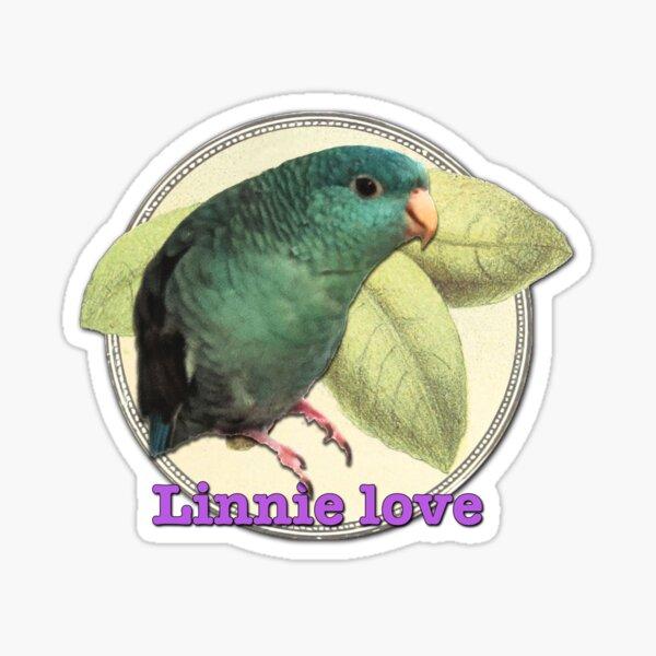 Linnie love - purple style on vintage hardwood background Sticker