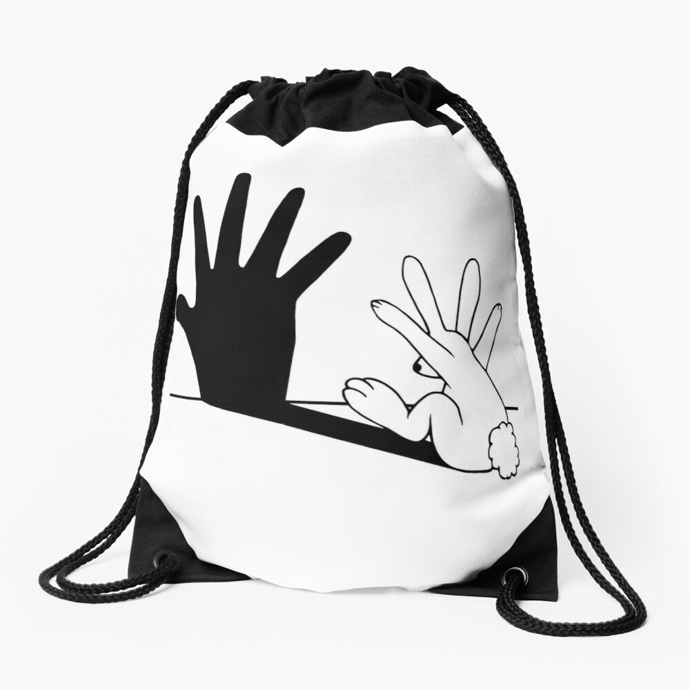 Rabbit Hand Shadow Drawstring Bag