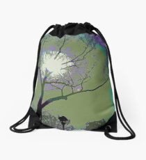 Sun Behind the Trees Drawstring Bag