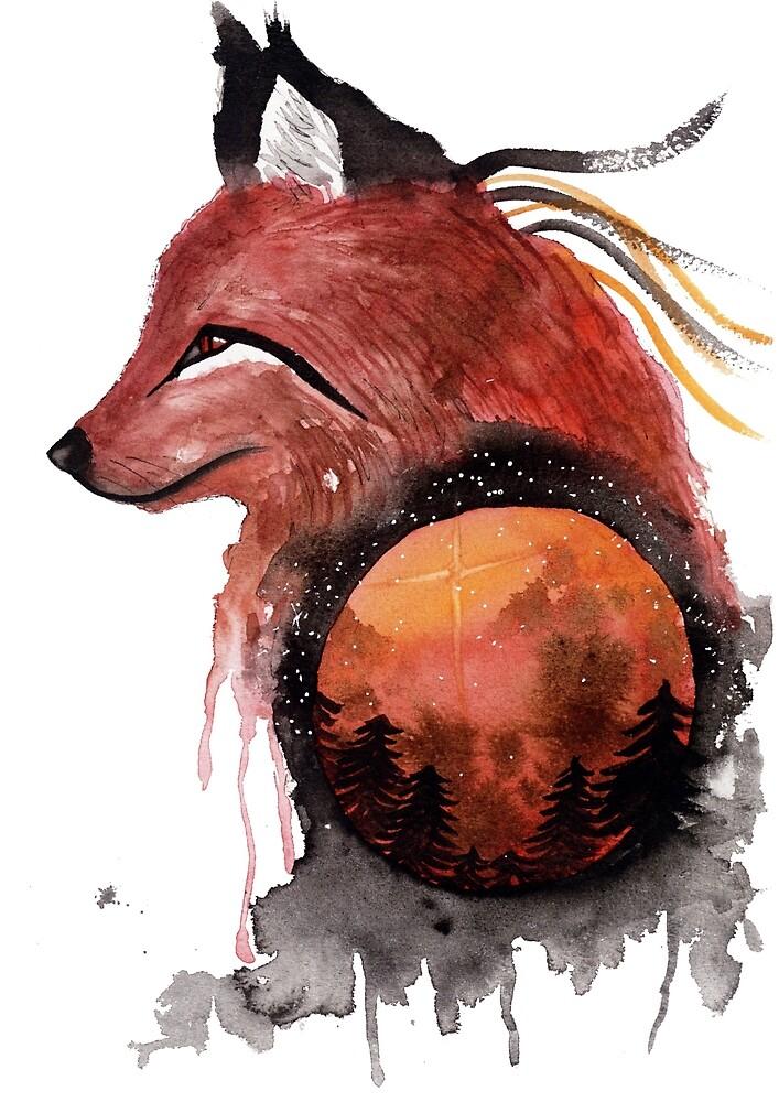 Tetrad the Bloodmoon Fox  by creaturesofnat