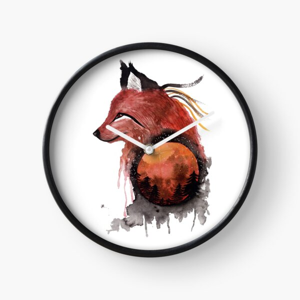 Tetrad the Bloodmoon Fox  Clock
