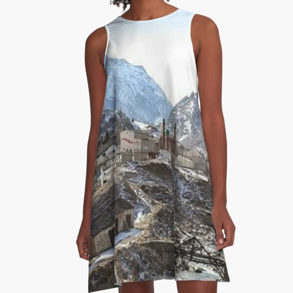 #Mountains, #road, #houses, #river, mountain village Tawlula Karachay Balkar A-Line Dress