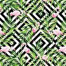 «Flamingo y ramas tropicales.» de JuliaBadeeva