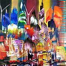 City of London Skyline Abstract Painting 795 by Eraclis Aristidou