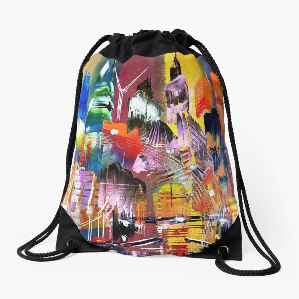 City of London Skyline Abstract Painting 795 Drawstring Bag