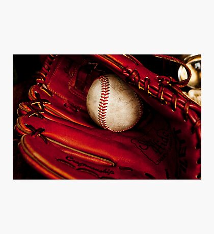 Baseball glove and ball Photographic Print