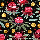 Waratahs and Craspedia by TigaTiga