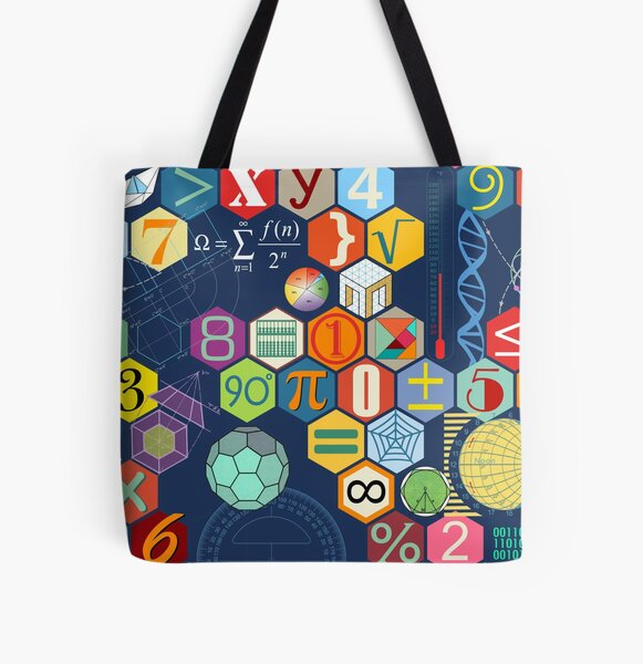 Math in color (blue) All Over Print Tote Bag