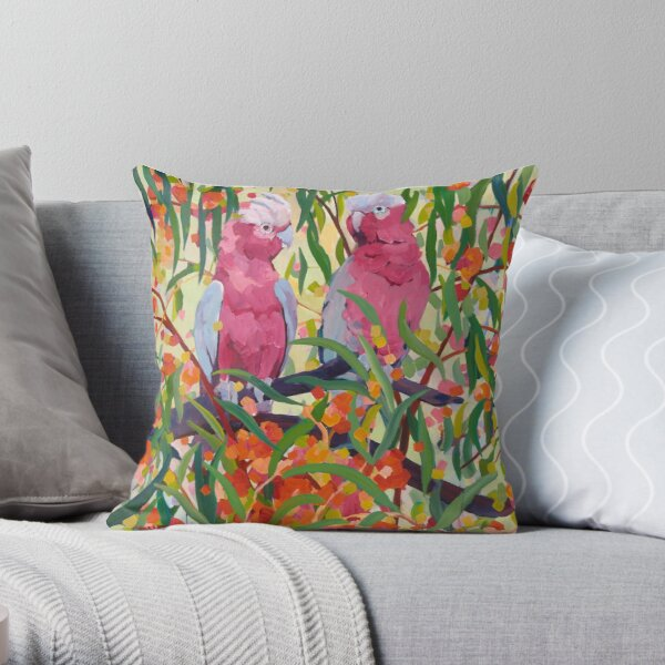 Galahs and Blossom Throw Pillow