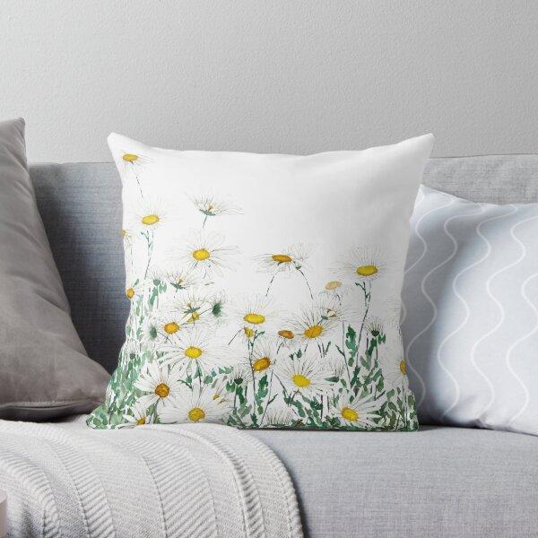 white margaret daisy horizontal watercolor painting Throw Pillow
