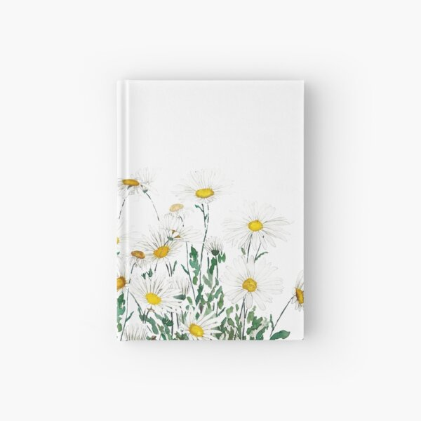 white margaret daisy horizontal watercolor painting Hardcover Journal