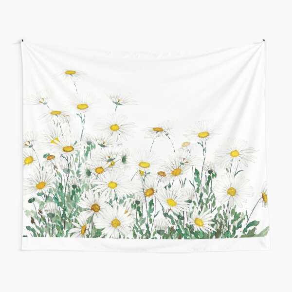 white margaret daisy horizontal watercolor painting Tapestry