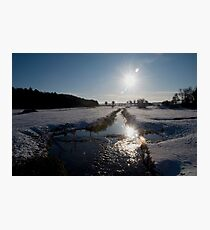 Sunset and snow, Warham, Norfolk, UK. Photographic Print