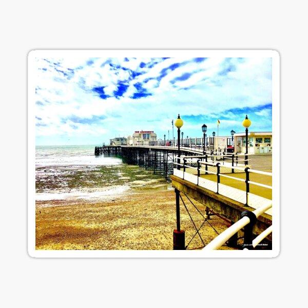 Worthing pier Aquafresh sky, West Sussex ( Worthing, West Sussex) Sticker