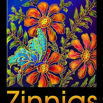 Poster, 'Zinnias by Yard Light' A Summertime Floral Fantasy by arbogast0657