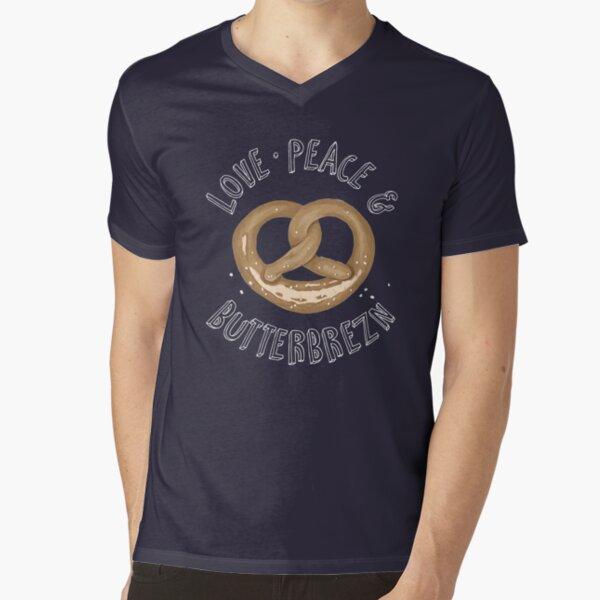 Love, Peace and Butterbrezn T-Shirt mit V-Ausschnitt