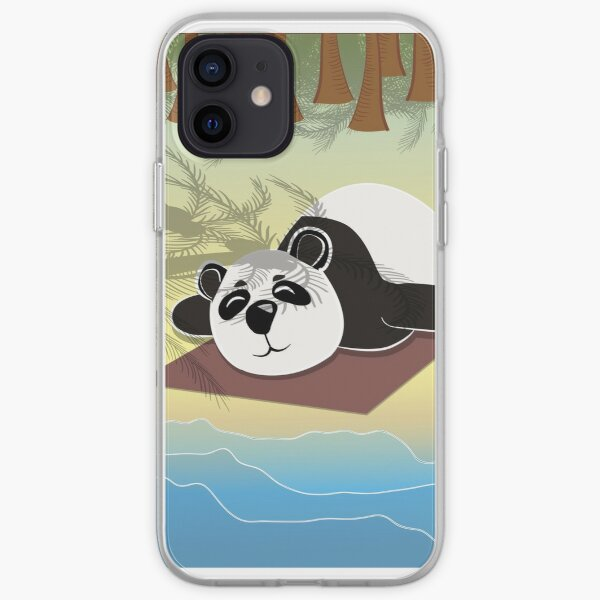 Panda lying on the beach under palm trees iPhone Soft Case