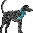 Lurcher scruff with blue scarf by lizmaydesigns