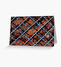 Vintage net background of rusty iron net Greeting Card