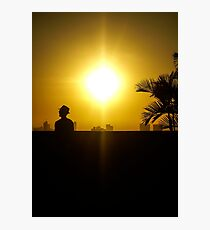 Cool man at sunset in Cartagena Colombia Photographic Print