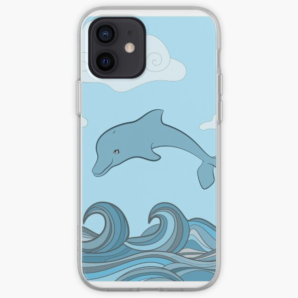 Dolphins in blue sea wave.  iPhone Soft Case