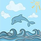 Dolphins in blue sea wave.  by miroshina