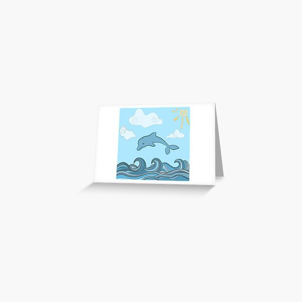Dolphins in blue sea wave.  Greeting Card