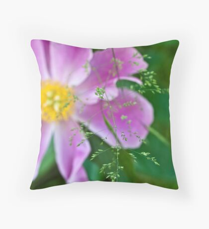 Peony and Straw of Grass Throw Pillow