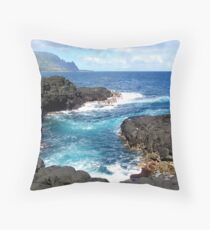 Blue Ocean Waters of Queens Bath on Kauai Hawaii Throw Pillow
