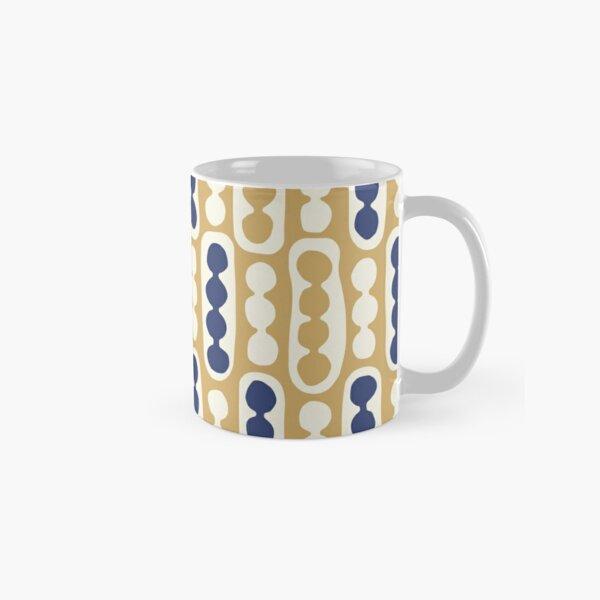 Pebbles and Pods pattern in golden yellow, dark blue denim, cream Classic Mug