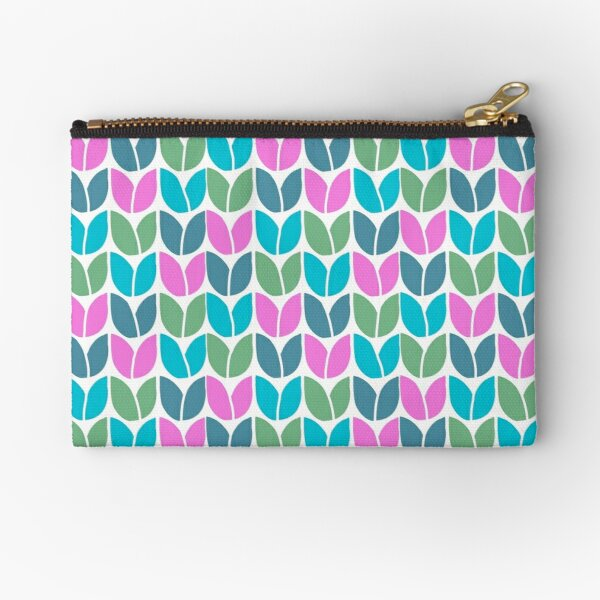 Tulip Knit (Blue Pink Green) Zipper Pouch
