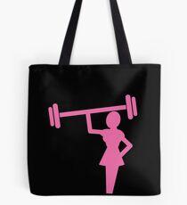 Frauenform in den rosa anhebenden Gewichten Tote Bag
