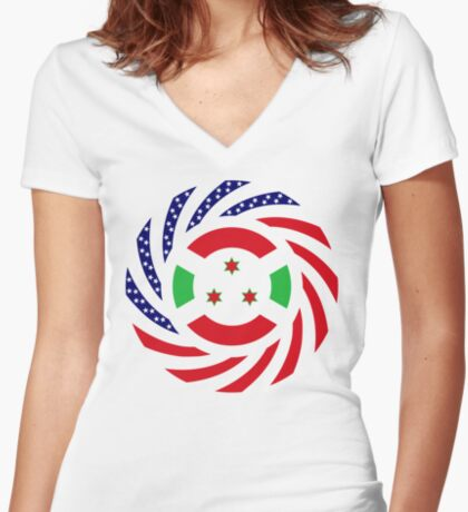 Burundian American Multinational Patriot Flag Series Fitted V-Neck T-Shirt