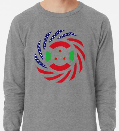 Burundian American Multinational Patriot Flag Series Lightweight Sweatshirt