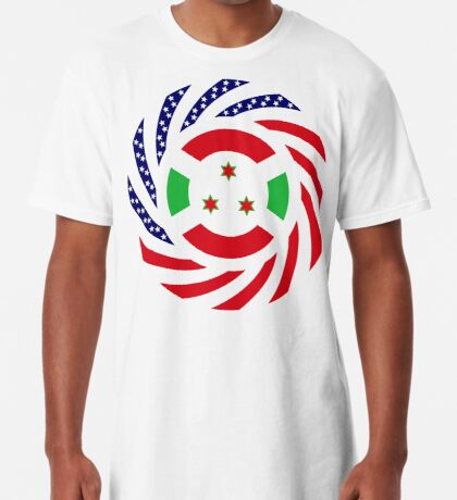 Burundian American Multinational Patriot Flag Series Long T-Shirt