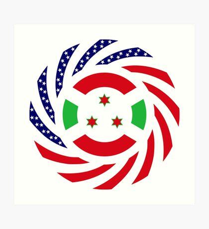 Burundian American Multinational Patriot Flag Series Art Print