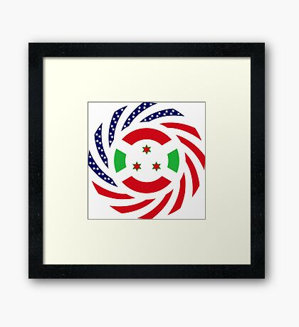 Burundian American Multinational Patriot Flag Series Framed Print