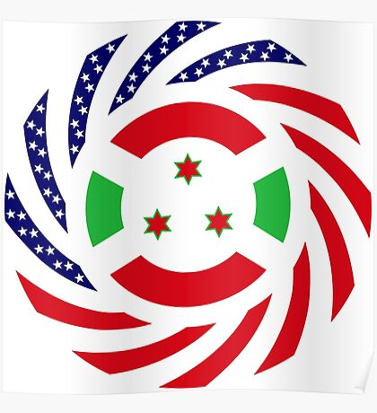Burundian American Multinational Patriot Flag Series Poster