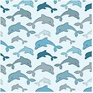 Seamless pattern with dolphins  by miroshina