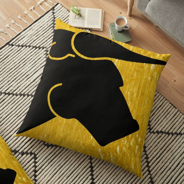 Black Bull on Gold Floor Pillow