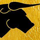 Black Bull on Gold by doubledicedesig
