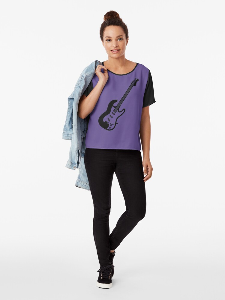 Alternate view of Electric Guitar Silhouette Chiffon Top