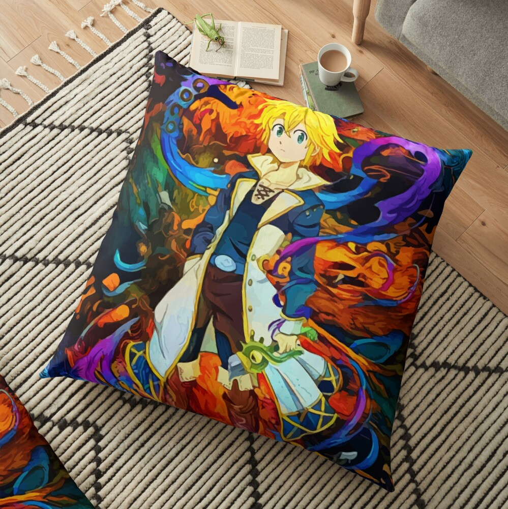 colorful Dragons Sin Floor Pillow