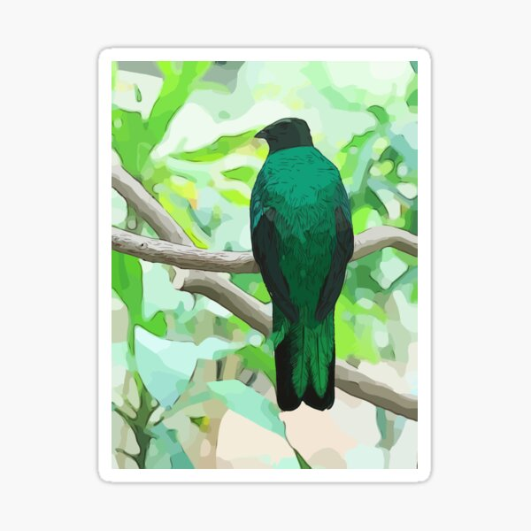 Emerald Green Bird in Nature Sticker