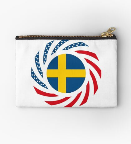 Swedish American Multinational Patriot Flag Series Zipper Pouch