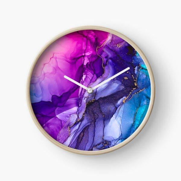 Abstract Vibrant Rainbow Ombre Clock
