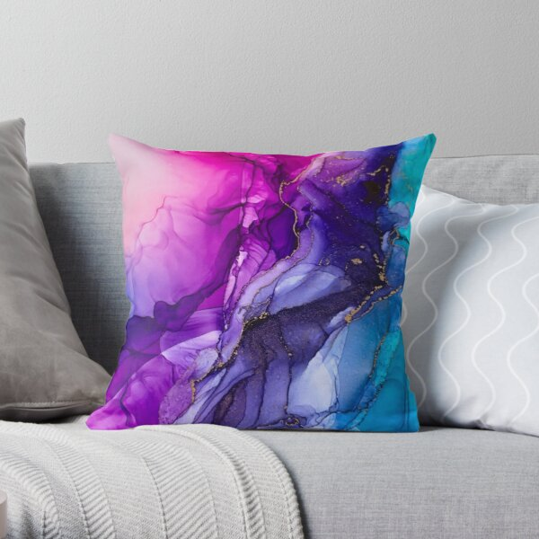 Abstract Vibrant Rainbow Ombre Throw Pillow