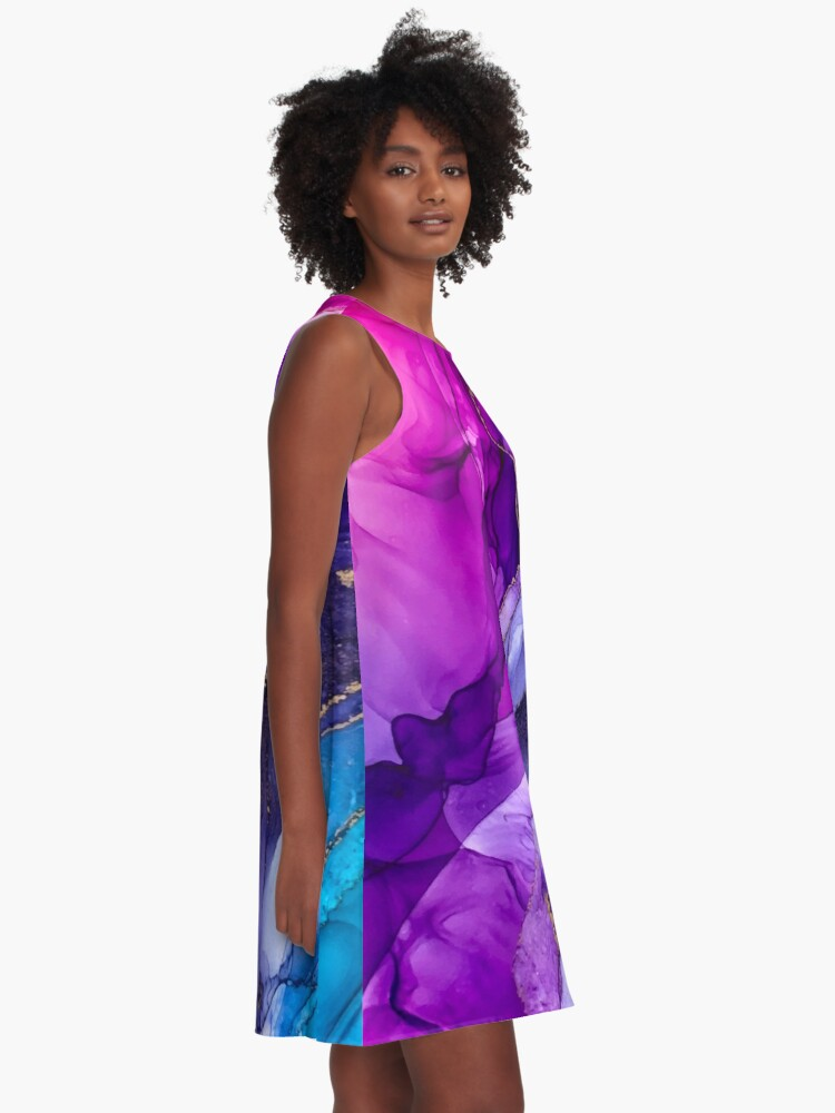 Alternate view of Abstract Vibrant Rainbow Ombre A-Line Dress